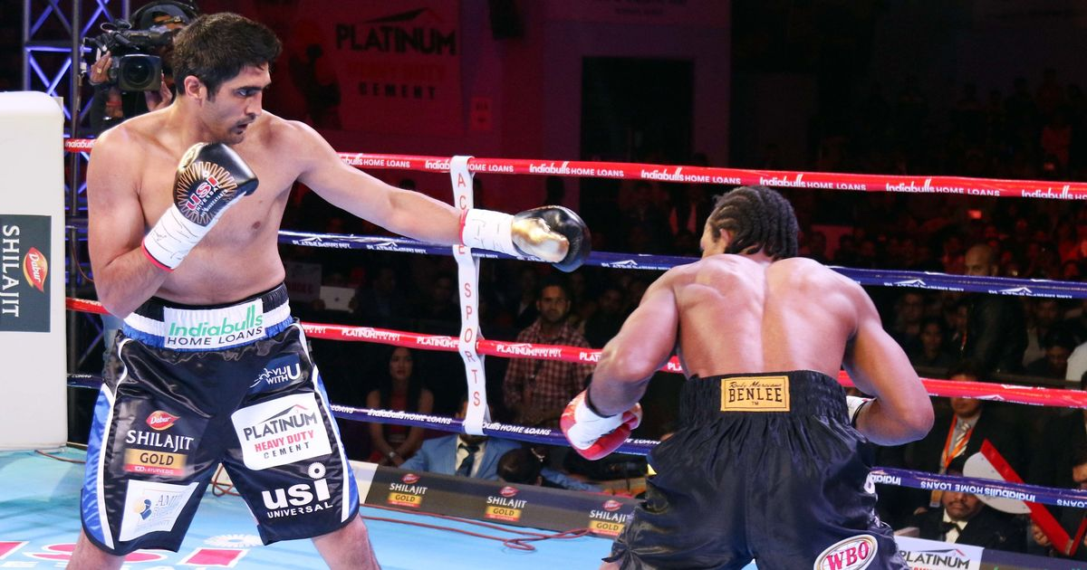 Image result for Vijender beats Amuzu to continue unbeaten run in pro-boxing