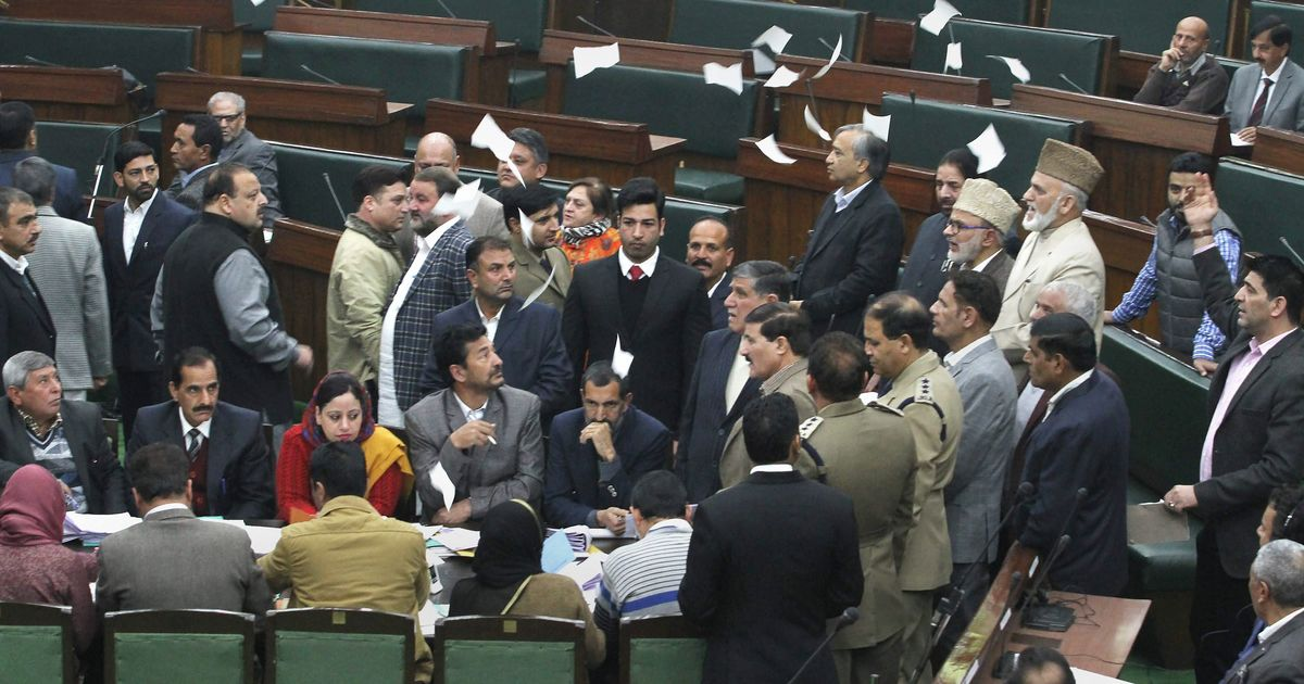 Proceedings resume in Jammu and Kashmir Assembly after Opposition disrupts governor's speech