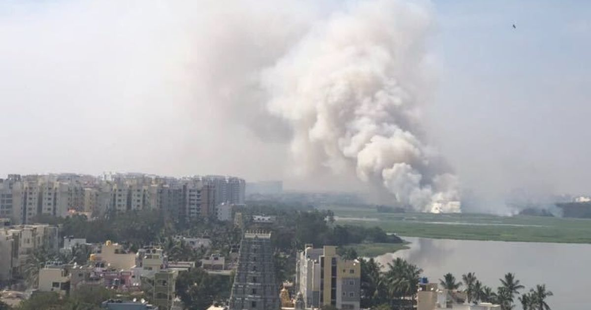 Watch: Fire rages on at Bengaluru's polluted Bellandur lake