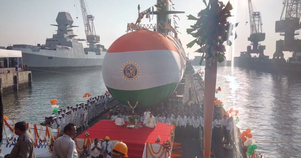 Indian Navy launches 3rd Scorpene class submarine INS Karanj
