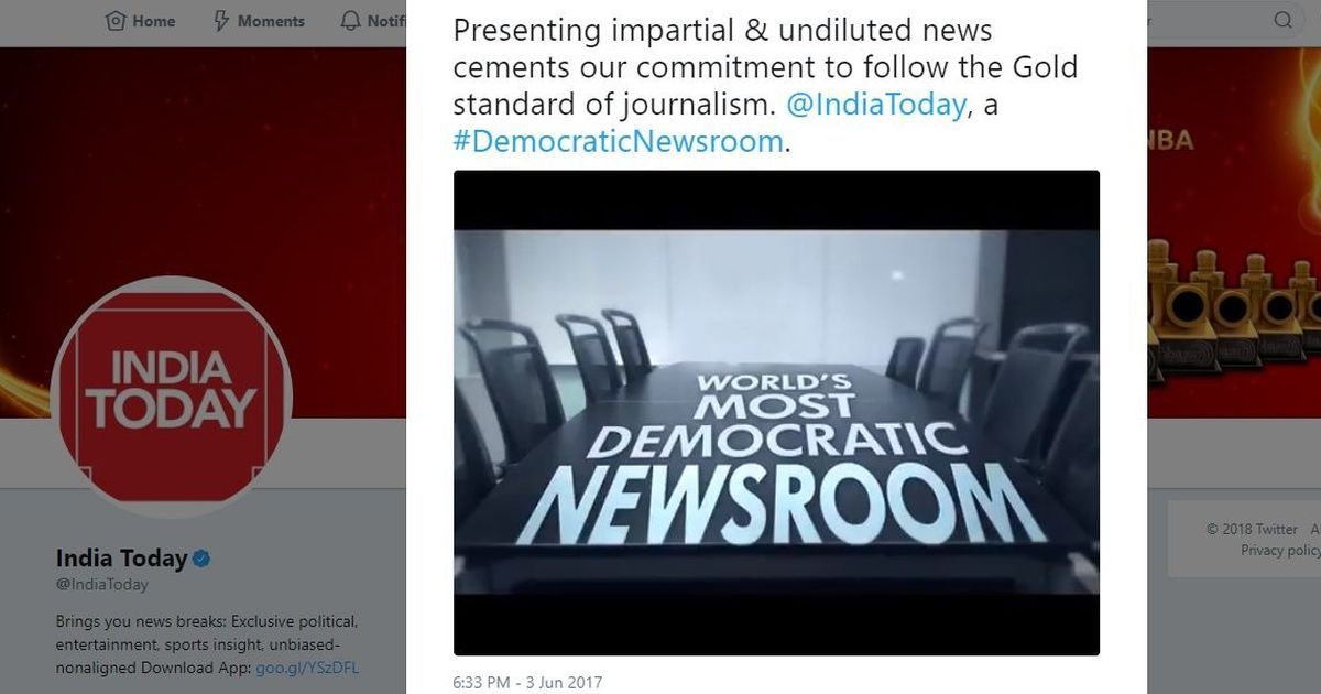 India Today fires journalist for tweet criticising 'fake news peddling' TV anchors