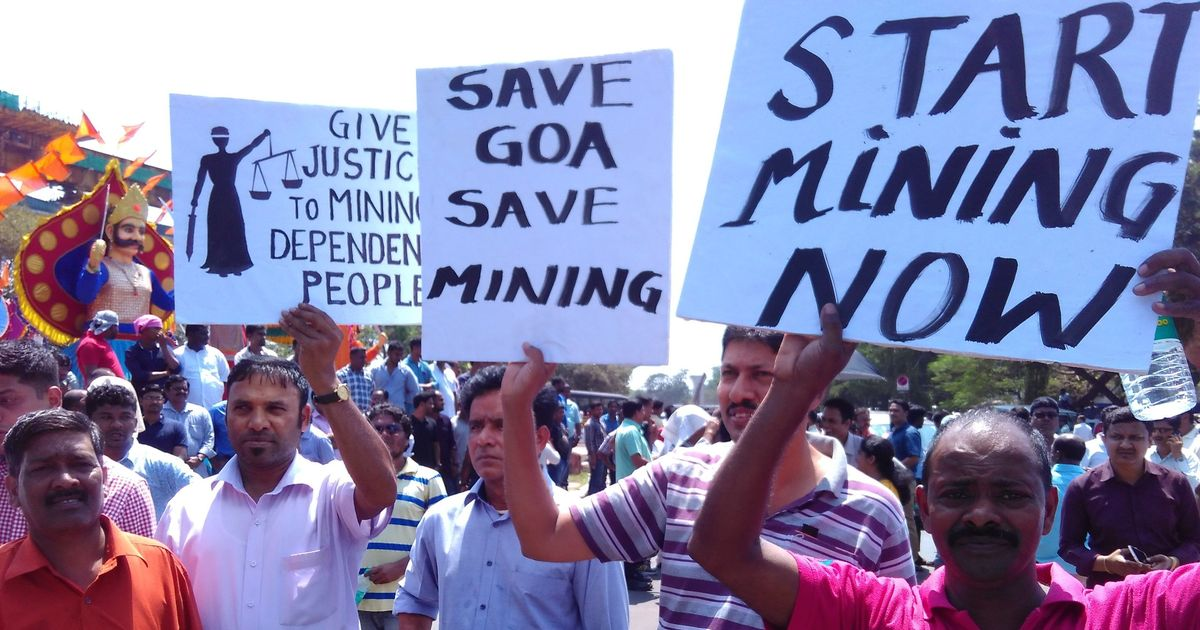 Goa: Several people stage protest against a ban on mining