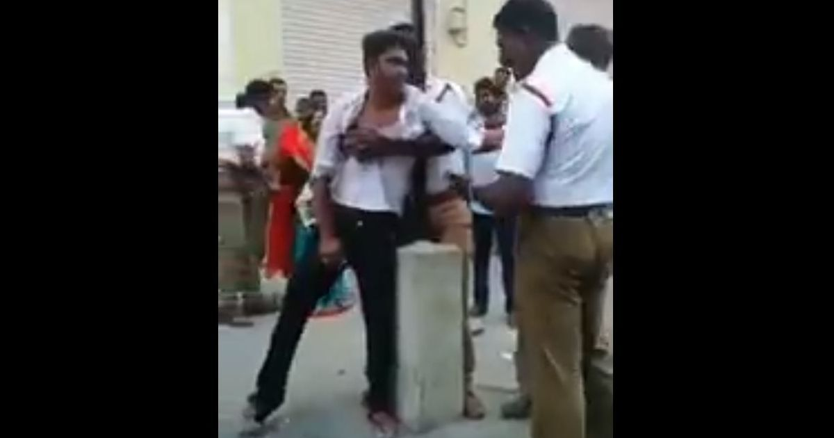Chennai: Video shows traffic police assaulting man, his mother for not wearing helmet