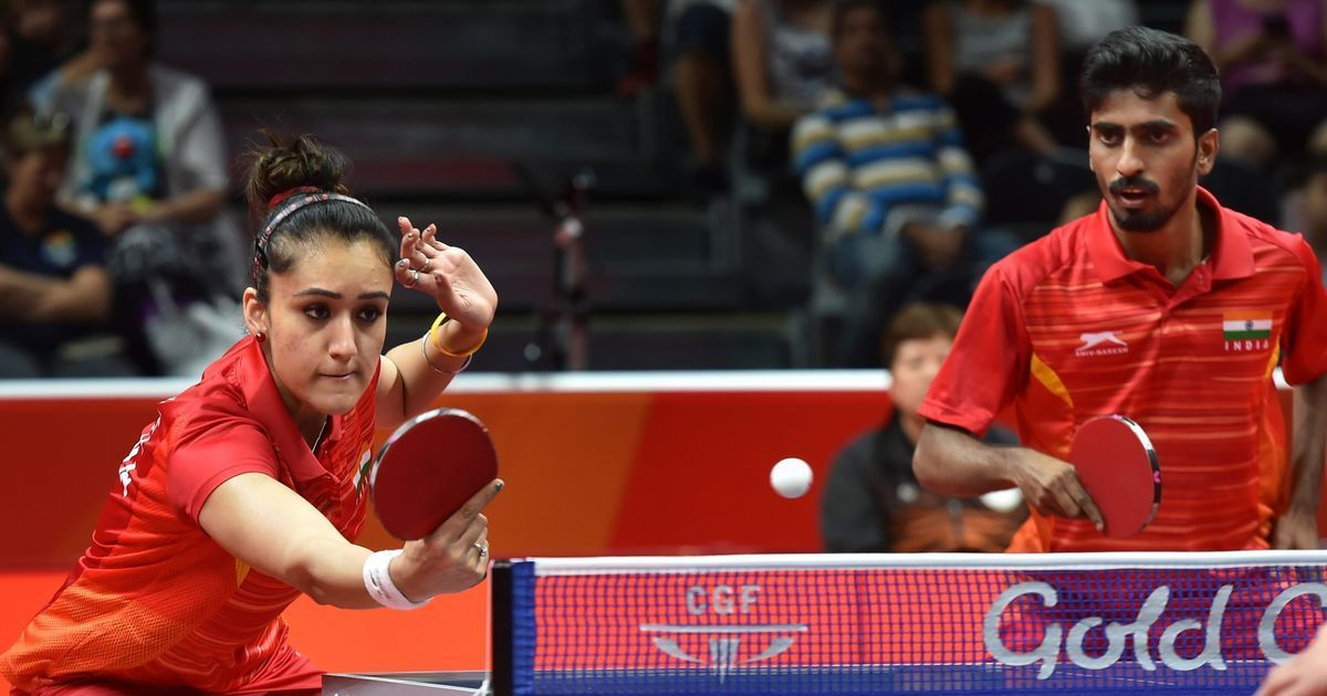 Manika Batra and G Sathiyan in action at the 2018 Gold Coast Commonwealth Games