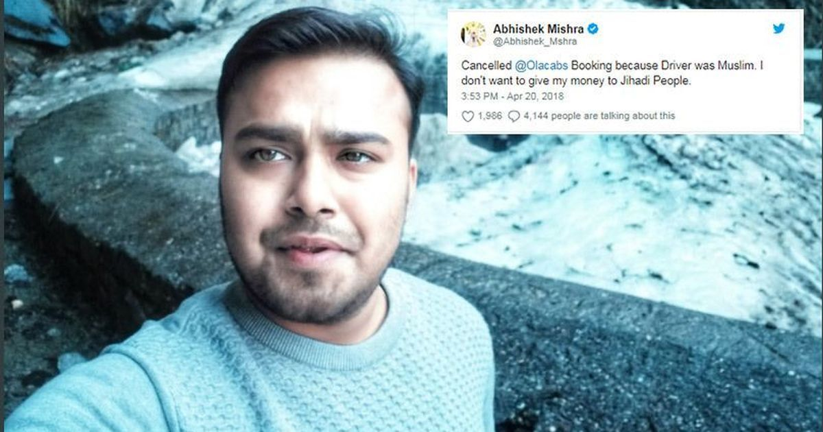 Tweet about man cancelling Ola cab because driver was Muslim provokes outrage (followed by humour)