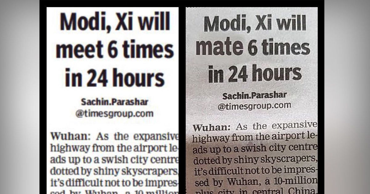 Headline saying Modi and Xi 'will mate 6 times' is fake, clarifies The Times of India