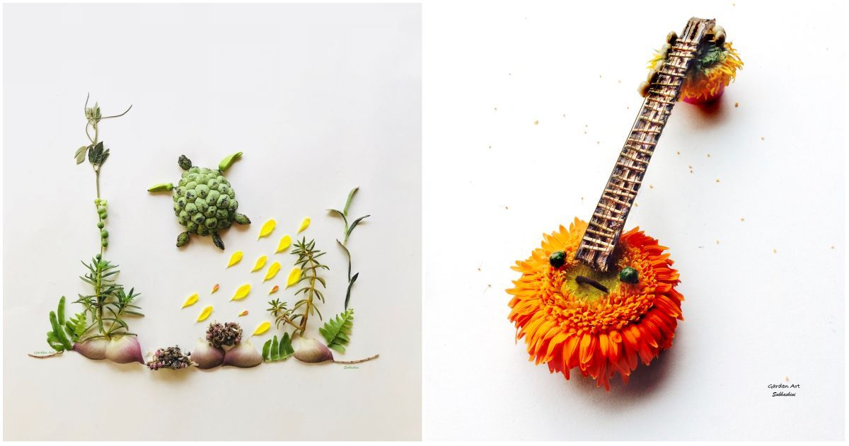 Nature as art: This Indian artist transforms dried flowers and leaves into quirky sketches