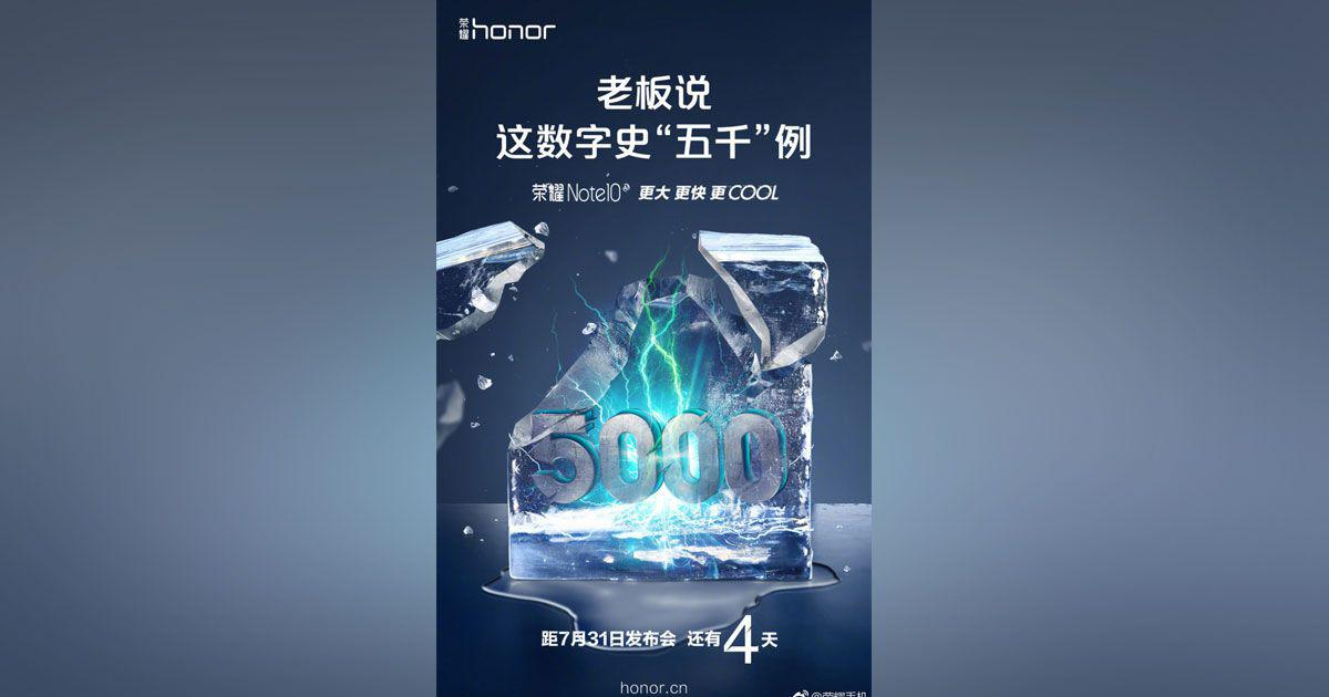 Honor Note 10 will be launch on 31st July