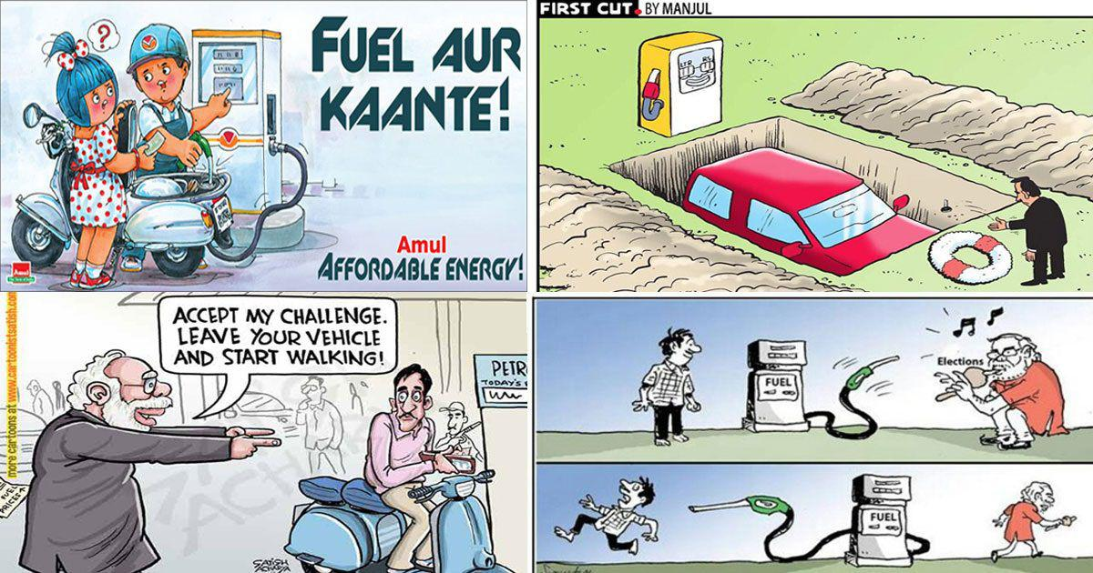 As India's fuel prices keep rising, cartoonists try to ease the common citizen's pain with humour