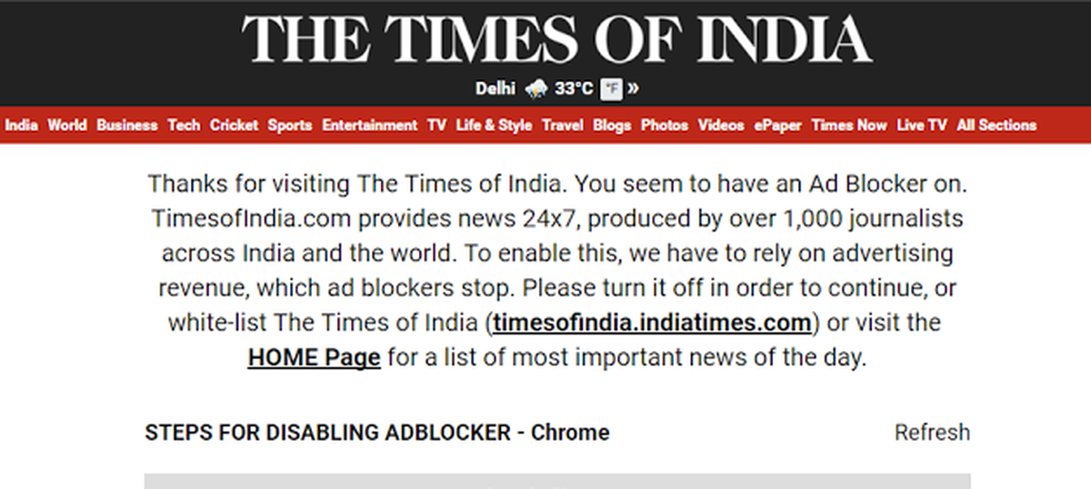 Indian news website redesign