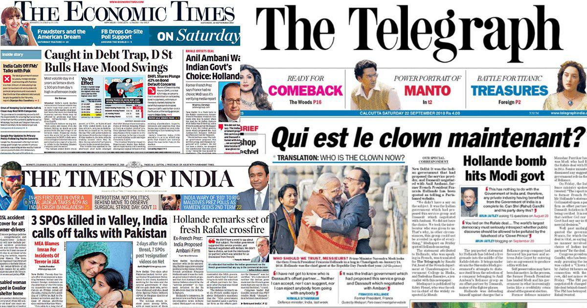 'Who's the clown now?': Angles vary, but most English front pages cover Hollande's claims on Rafale