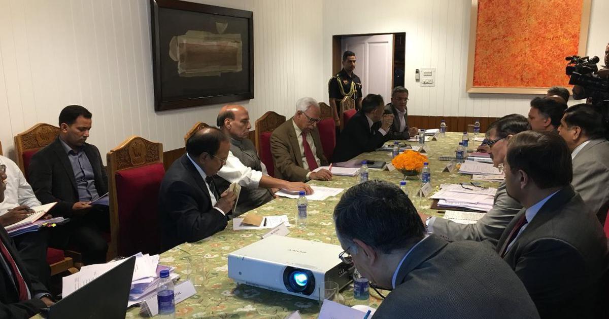 Srinagar: Home Minister Rajnath Singh meets J&K Governor NN Vohra, discusses security situation
