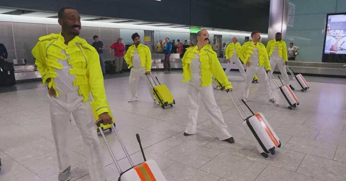 BOHEMIAN RHAPSODY British Airways/Heathrow Airport BAGGAGE HANDLERS TRIBUTE to Freddie Mercury ile ilgili görsel sonucu