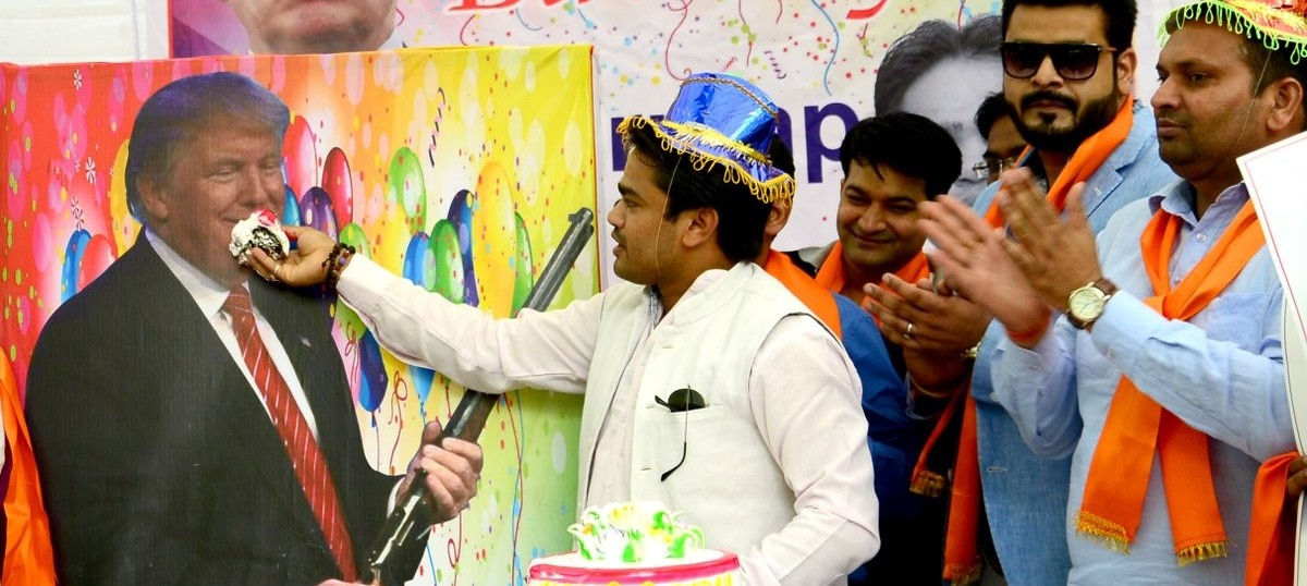 Hindu Sena celebrates Donald Trump's birthday with cake, balloons and posters in Delhi