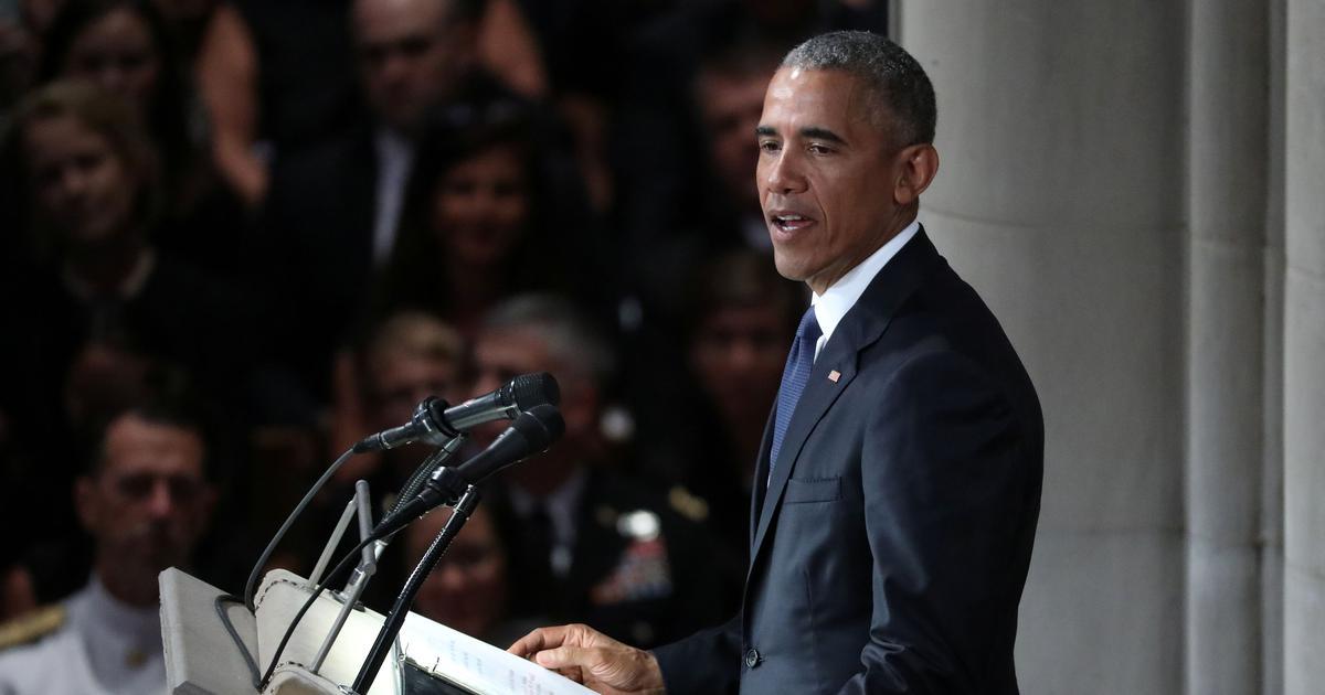 Image result for john mccain funeral obama