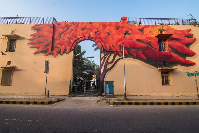 'Lava Tree' by Anpu Varkey, Block 14, Lodhi Colony.  (Photograph: Akshat Nauriyal).