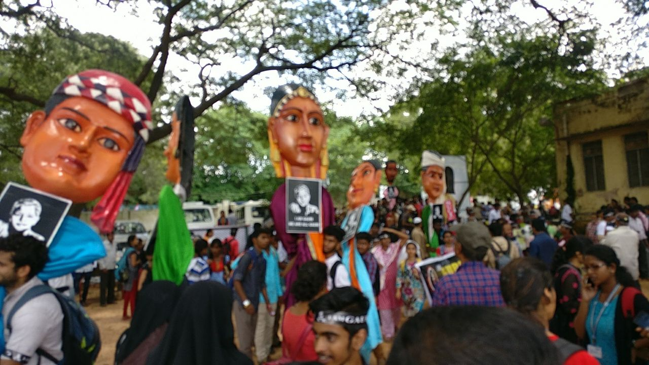 Protestors participating in the rally hold up dummies as they reach Bengaluru's Central College ground. (Credit: Rohan Venkat/Scroll.in)