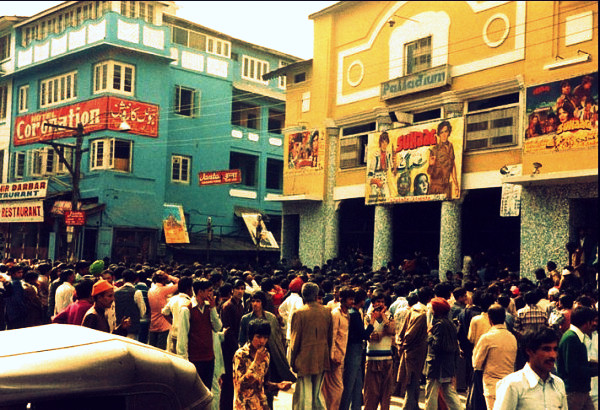Then: Long queues outside Palladium in the 1980s.