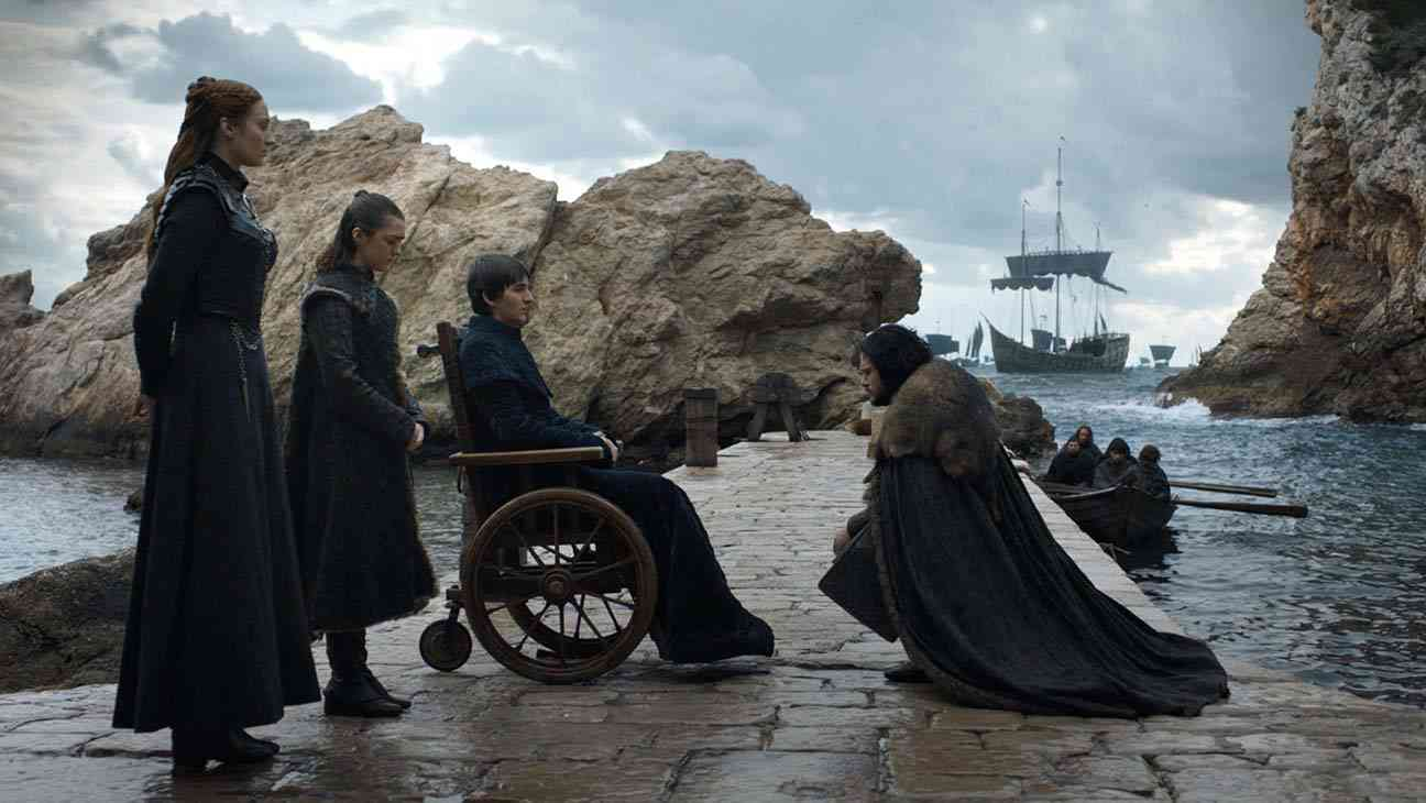 Sophie Turner, Maisie Williams, Isaac Hempstead Wright and Kit Harington in Game of Thrones. Courtesy HBO.