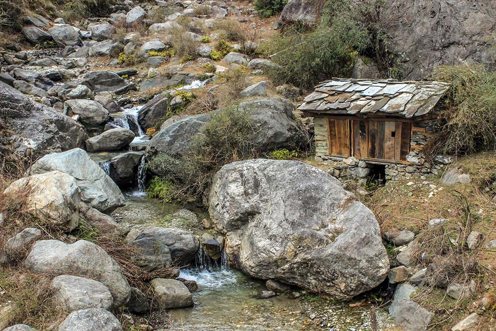 View of a typical gharat or kuhl driven water mill for grinding wheat and spices. Photo credit: Akshay Jasrotia