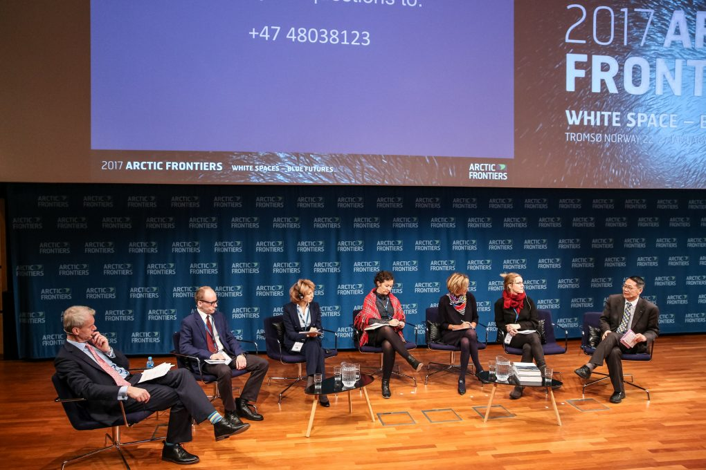 Yang Jian, Vice President of the Shanghai Institutes for International Studies, at the far right, at a discussion on Cross Border Cooperation in times of Political Changes [image: Alberto Grohovaz / Arctic Frontiers 2017]