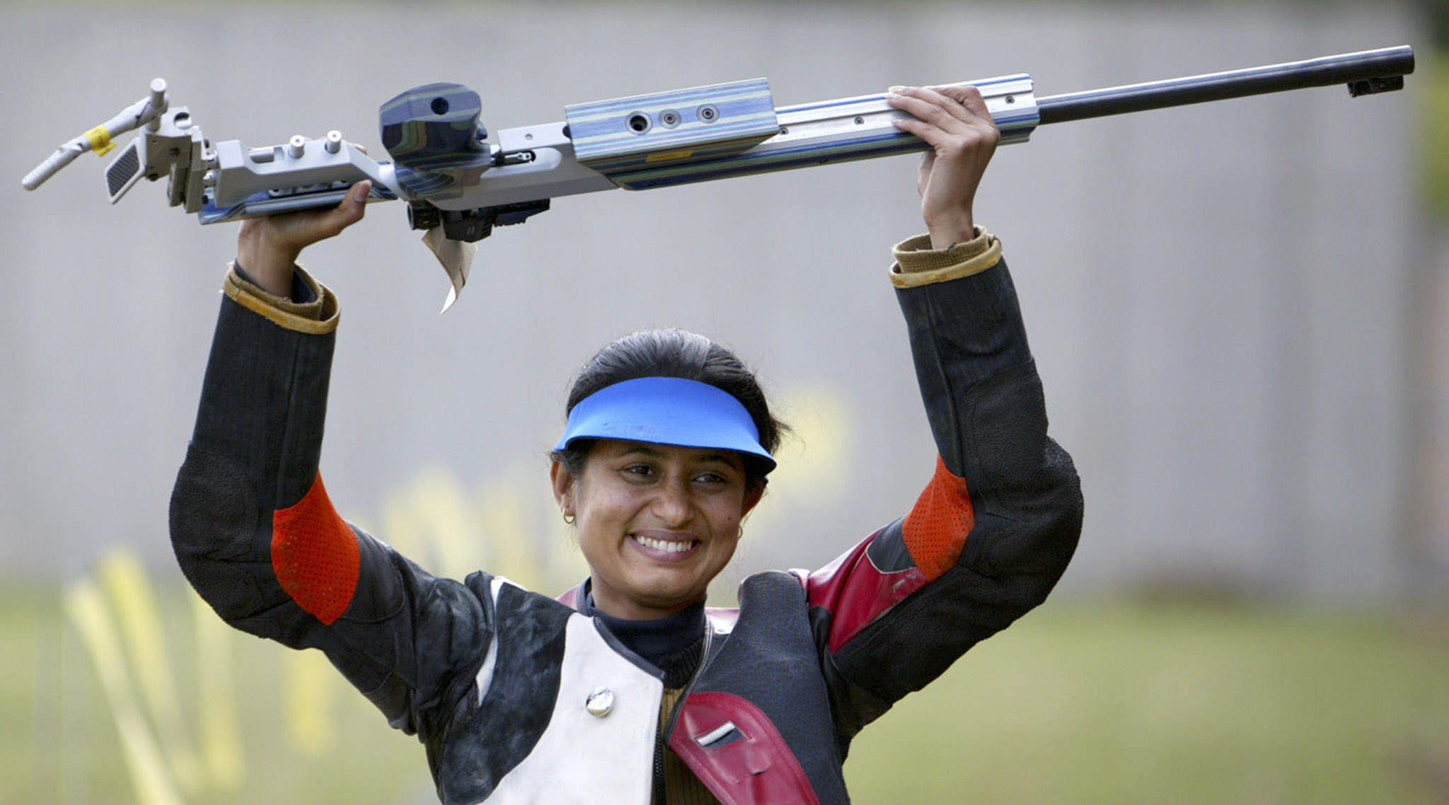 Anjali Bhagwat celebrates after winning the gold medal in the 2002 Commonwealth Games (Reuters)