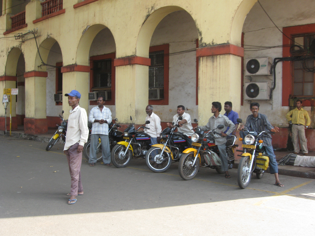 A motorcycle taxi stand in Goa. Photo credit: Wikipedia