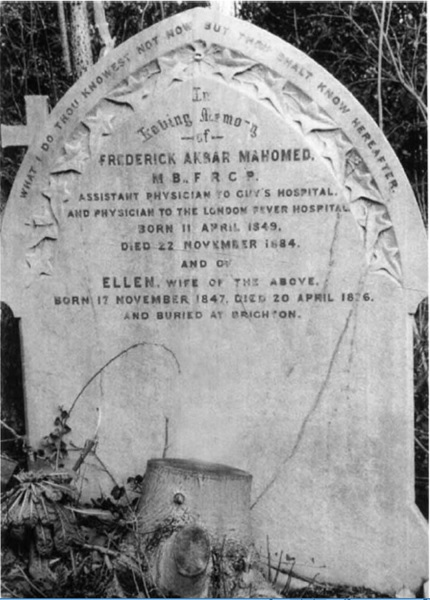 Akbar Mahomed's grave in Highgate cemetery, North London. The cemetery was opened in 1839, and among several illustrious people buried here is Karl Marx. Image courtesy: J. Stewart Cameron and Jackie Hicks' 'Frederick Akbar Mahomed and his role in the description of hypertension at Guy's Hospital'.