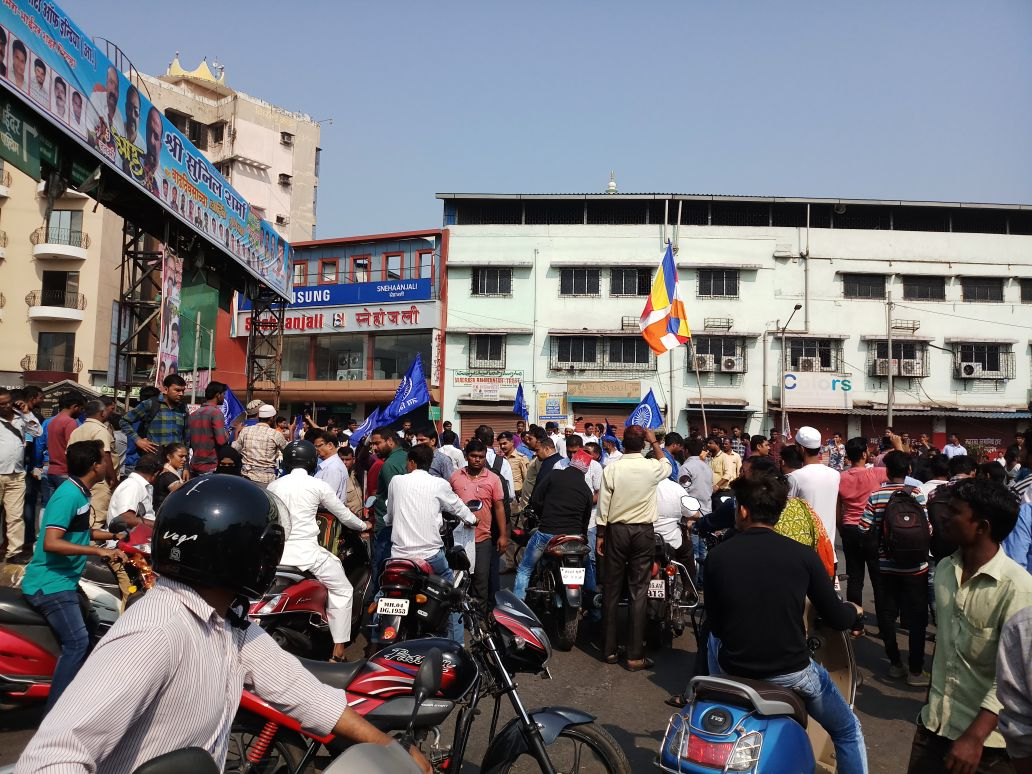 Protestors take to the streets in Bhayandar. (Aakanksha Chandak/Scroll.in)