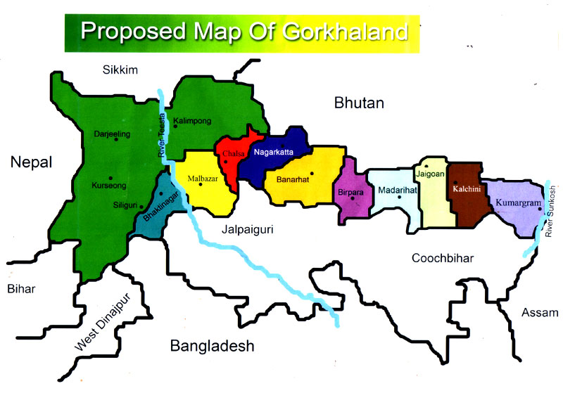 The Gorkha Jamukti Morcha's vision of Gorkhaland includes a great many districts in the Dooars and Terai where Gorkhas are a minority | Credit: Wiki Commons