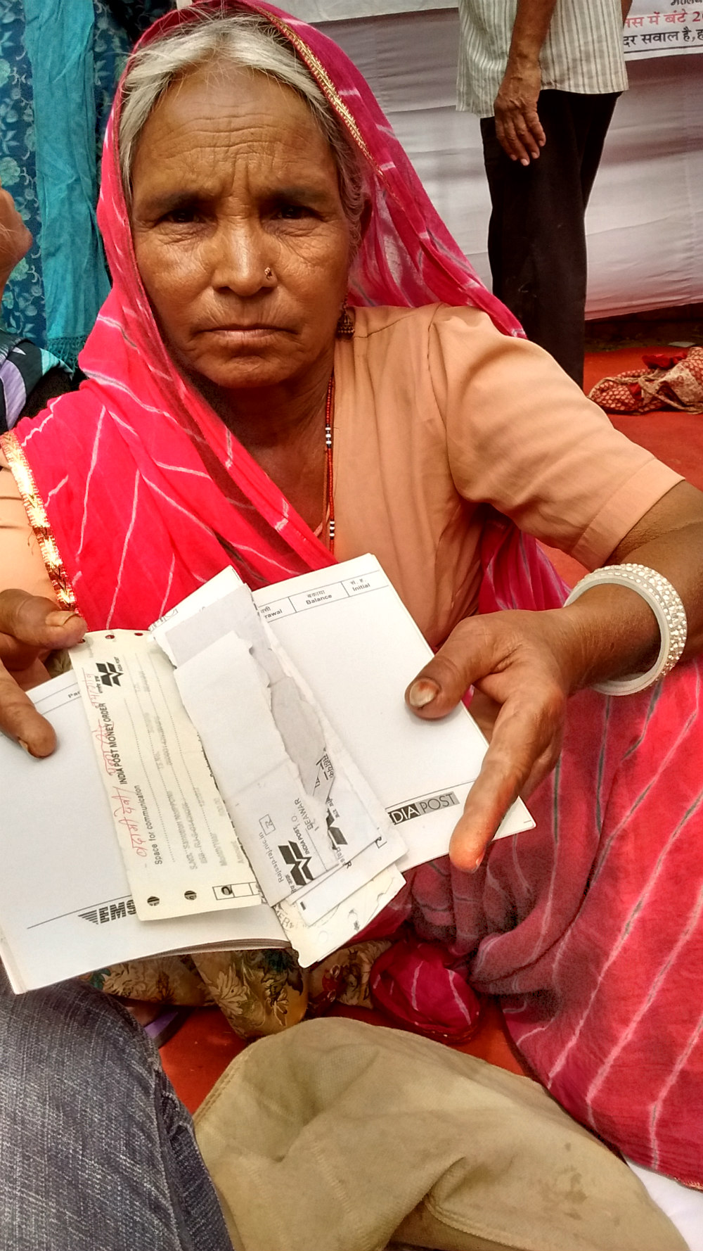Badami Devi from a village in Ajmer has not received her pension for six months.