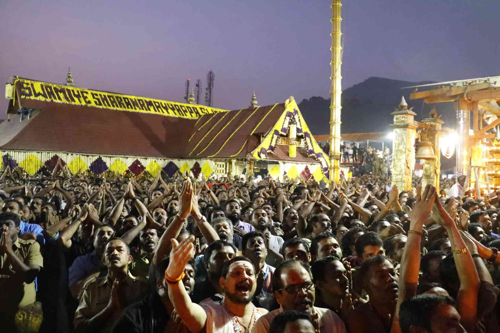 Devotees at the Sabarimala temple. (Photo credit: IANS)