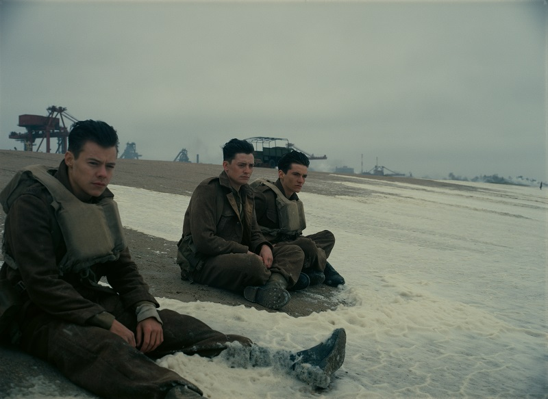 Harry Styles (left) in Dunkirk. Image credit: Warner Bros.