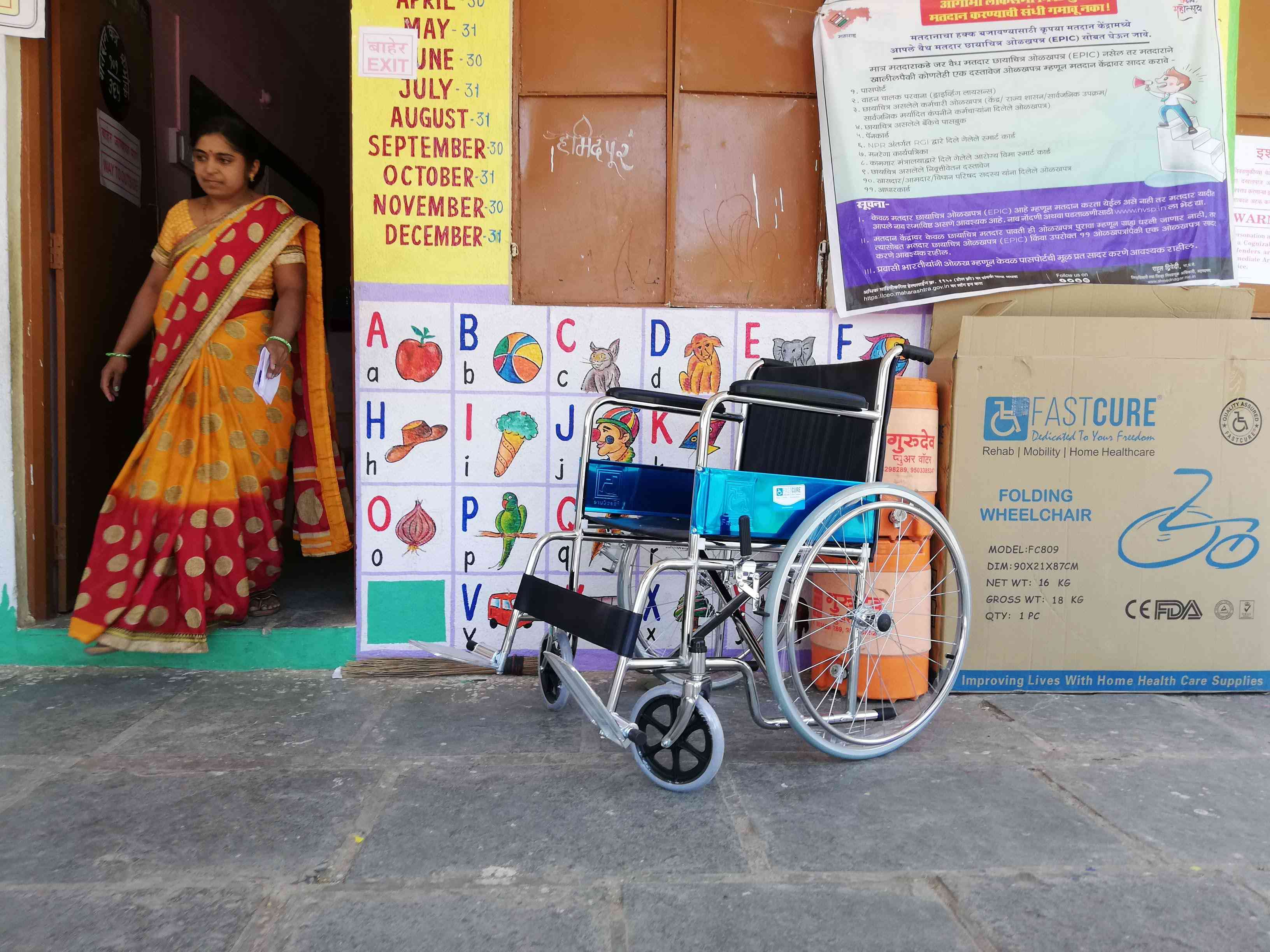 A wheelchair at a polling booth in Hamidpur village, Ahmednagar. The wheelchair had not been used until noon. Photo credit: Mridula Chari