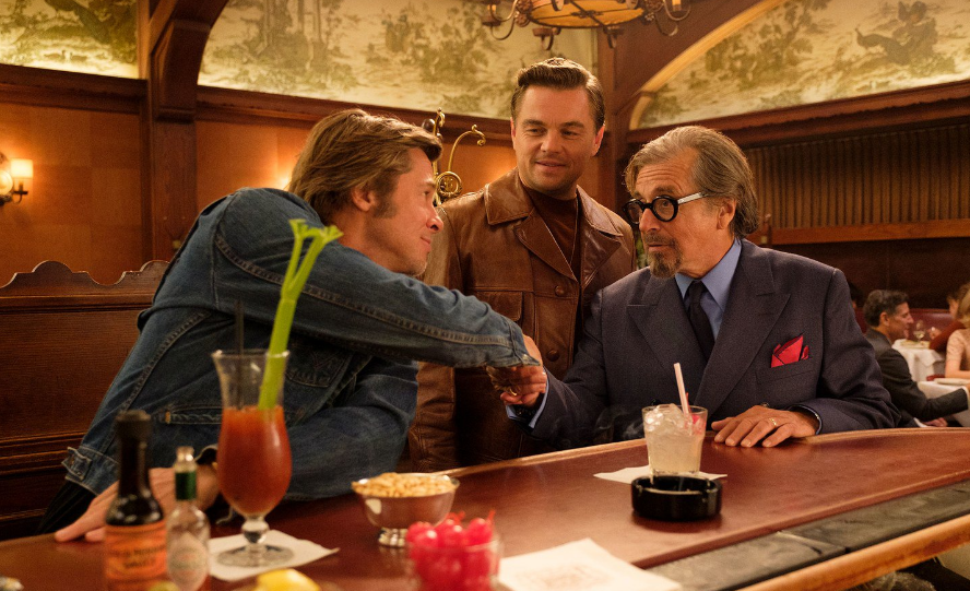 Brad Pitt, Leonardo DiCaprio and Al Pacino in Once Upon A Time In Hollywood. Courtesy Sony Pictures Entertainment.