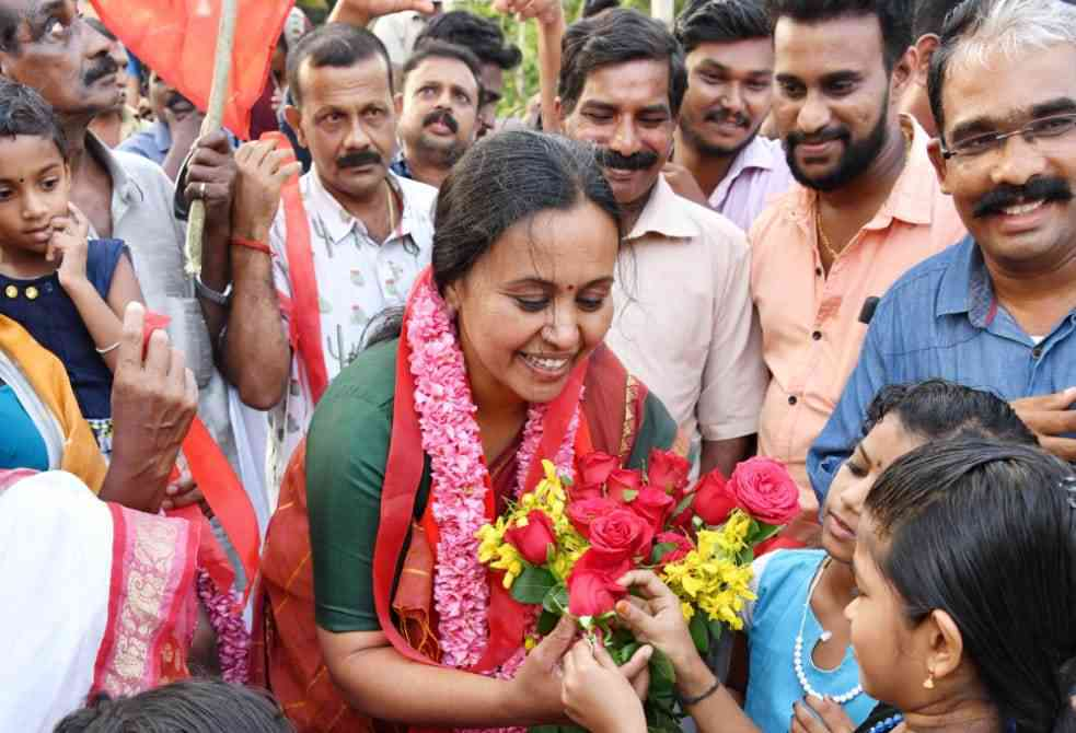 Veena George is contesting from Pathanamthitta on a CPI(M) ticket.