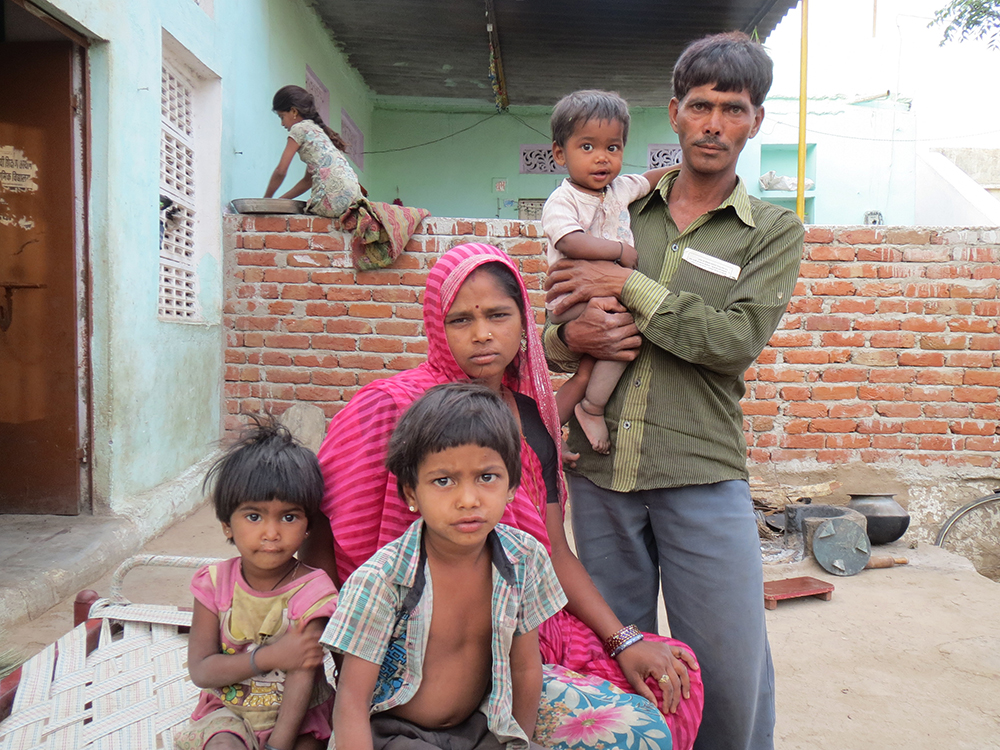 Babu Singh, a construction worker, and Punni Devi who has polio and their four children cannot get rations after Aadhaar biometric authentication was made compulsory in Jawaja, Rajasthan. Punni Devi did not receive her Aadhaar number. The machine does not recognise the fingerprints of Singh or his 8-year-old son.