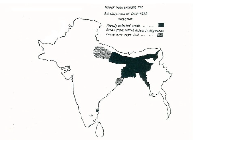 Distribution of kala azar in 1903. The endemic areas remain the same today.