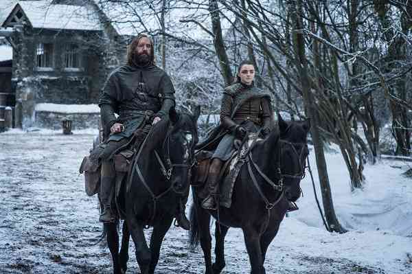Sandor Clegane (Rory McCann) and Arya Stark (Maisie Williams) in Game of Thrones. Courtesy HBO.