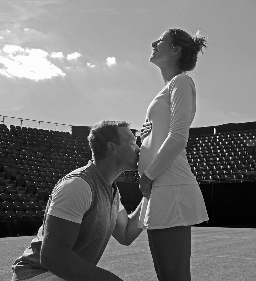 Mandy Minella posted a picture on her Facebook account on Tuesday showing husband and coach Tim Sommer kneeling in front of her on a Wimbledon court, kissing her stomach. Photo: Mandy Minella via Facebook