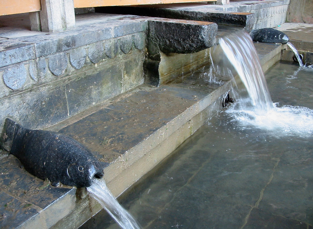 Fish-shaped water spouts at Chashme Shahi. Image credit: Anuradha Chaturvedi