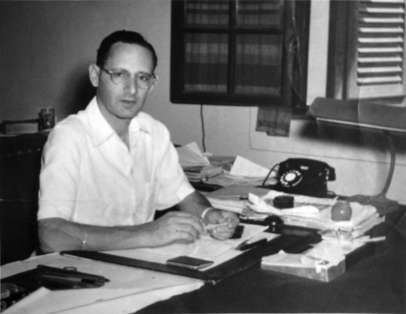 Otto Koenigsberger at his desk in Delhi, 1950.