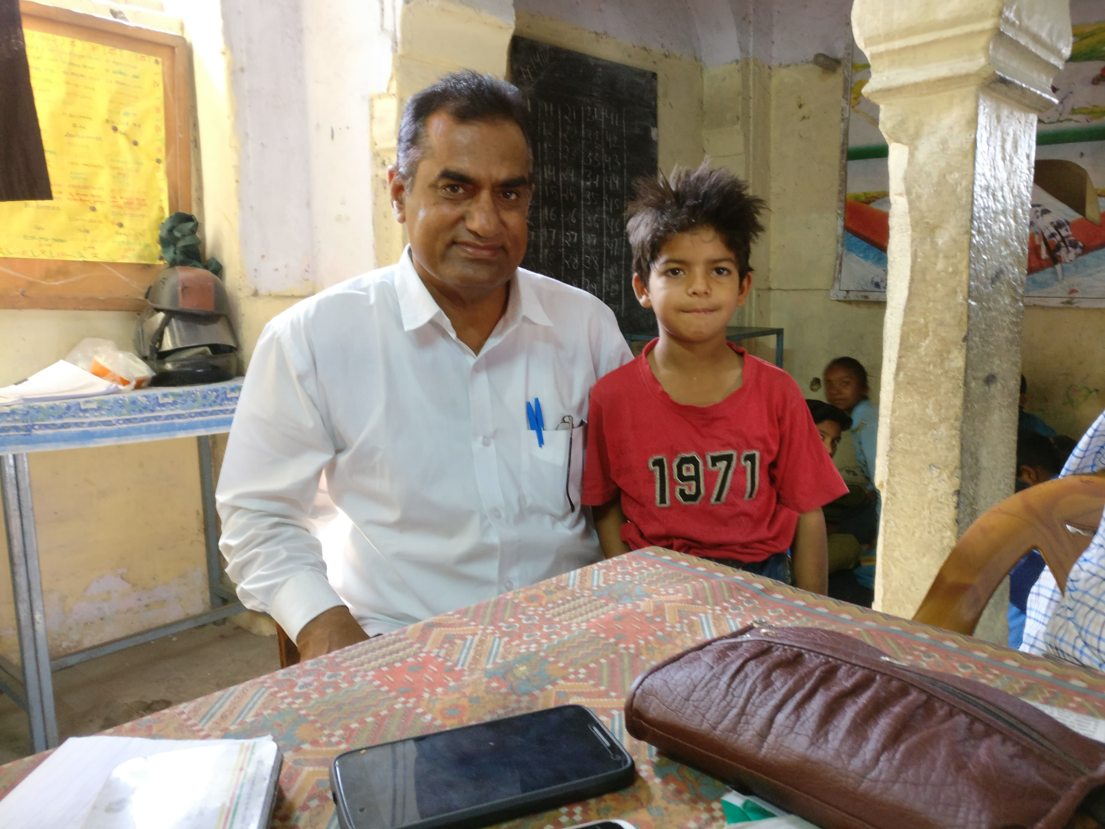 Teacher Puranmal Dayal and first-grader Gaurav Sharma moved to the senior school in Durgapur when their old primary school merged into it.