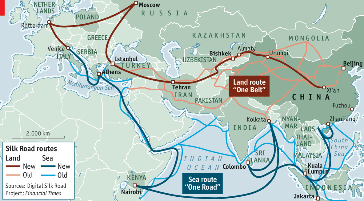 New Silk Roads: China, with about 60 other nations, pursue ambitious plans to connect three continents with infrastructure investments. Source: The Economist