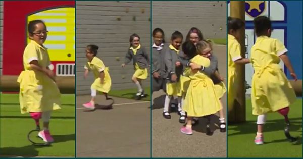 You have to see how this seven-year-old girl with a new prosthetic leg is greeted by her classmates