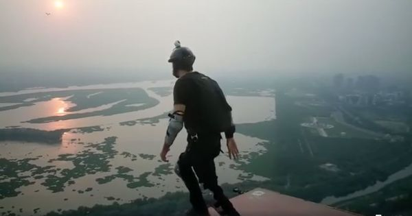 Watch: Satyendra Verma just performed India's highest BASE jump, from 600 feet above the ground