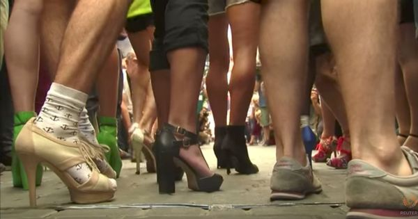 Watch: Men race against one another in high heels at Madrid's World Pride celebration