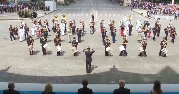 Watch: Macron loved this funky Daft Punk medley by the French army band. But Trump?