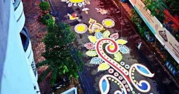 Watch: Kolkata artists paint one-kilometre-long design on a street to welcome Durga Puja