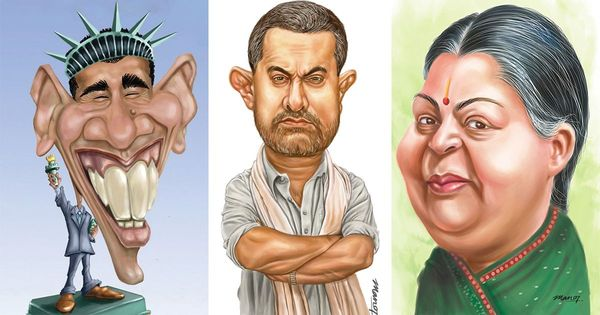 An Indian artist explains how to draw a funny caricature, whether of Modi or of Trump